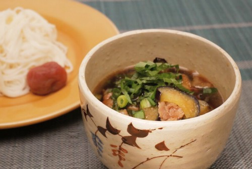 ナスの温素麺